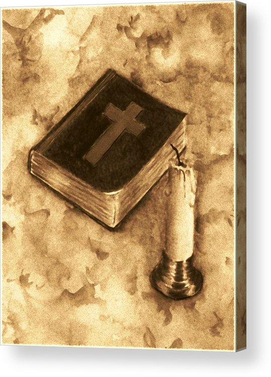 Bible Acrylic Print featuring the painting Bible And Candle by Michael Vigliotti