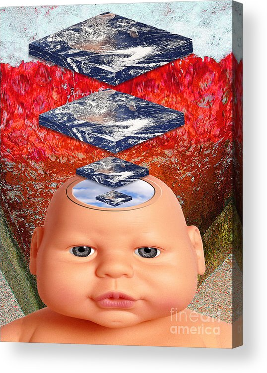 Red Acrylic Print featuring the digital art Child In Flat Worlds by Keith Dillon