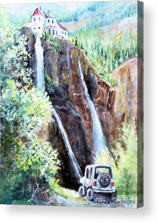 Waterfall Acrylic Print featuring the painting Jeeping At Bridal Falls by Linda Shackelford