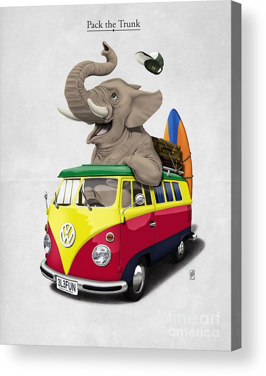 Elephant Acrylic Print featuring the drawing Pack The Trunk by Rob Snow