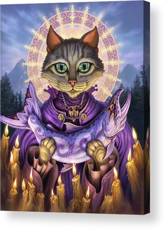 Jeff Haynie Acrylic Print featuring the painting Saint Of Salmons by Jeff Haynie