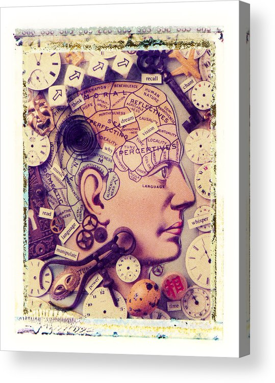 Thinking Think Thought Process Mind Brain Eye Lips Acrylic Print featuring the photograph Thinking by Garry Gay