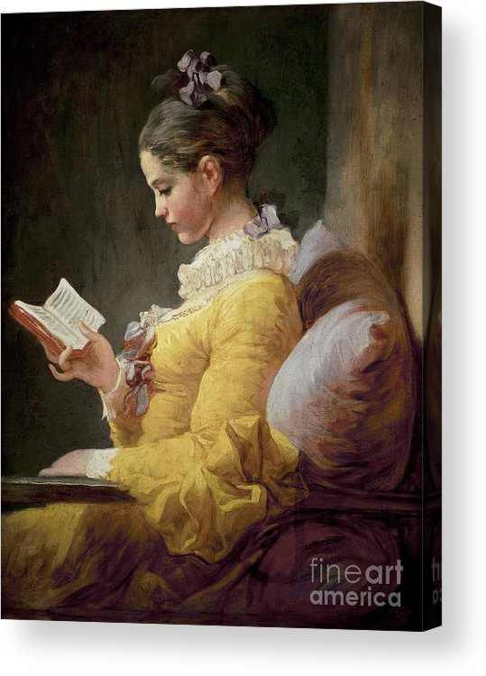 Young Acrylic Print featuring the painting Young Girl Reading by JeanHonore Fragonard