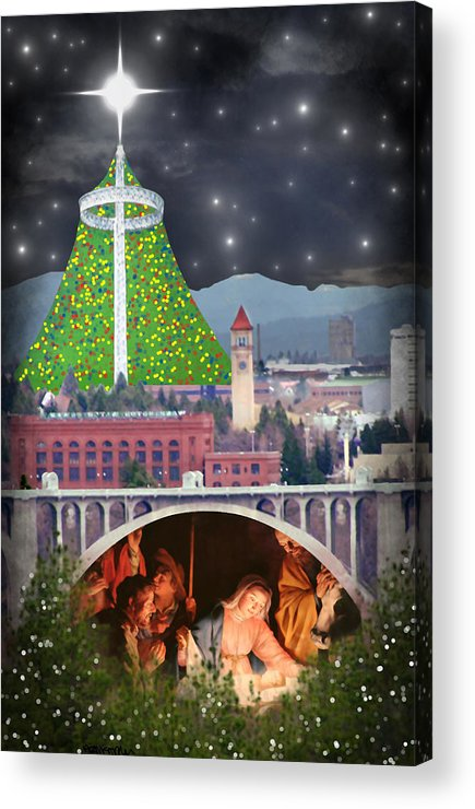 Christmas Acrylic Print featuring the digital art Christmas In Spokane by Mark Armstrong