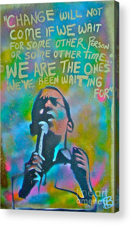 Barack Obama Acrylic Print featuring the painting Obama In Living Color by Tony B Conscious