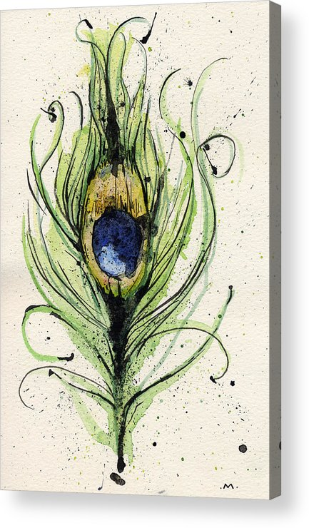 Peacock Acrylic Print featuring the painting Peacock Feather by Mark M Mellon