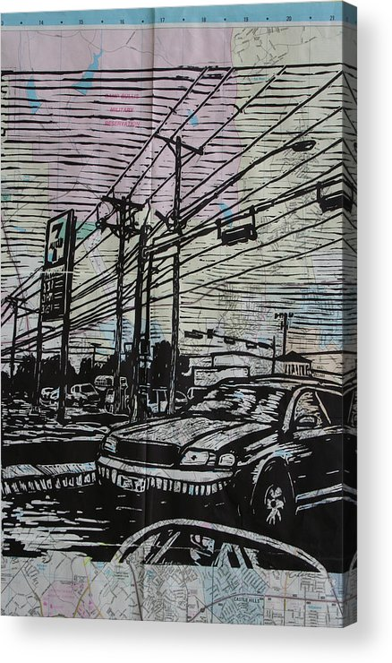 Lino Acrylic Print featuring the drawing Burnet Road by William Cauthern