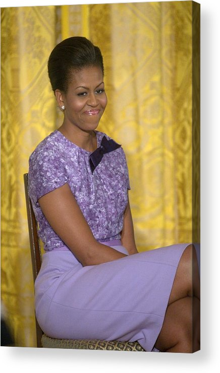 Michelle Obama Acrylic Print featuring the photograph Michelle Obama Wearing An Anne Klein by Everett