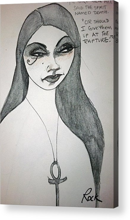 Sandman Comic Death Sister Graphic Novel Acrylic Print featuring the drawing Death From The Sandman by Jackie Rock