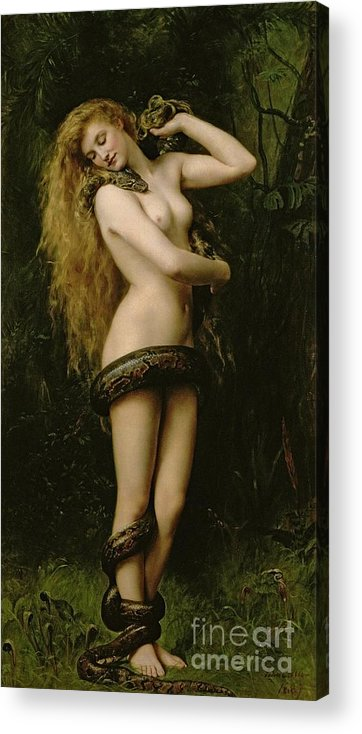 Nude; Female; Snake; Long Hair; Pre-raphaelite; Lilith Acrylic Print featuring the painting Lilith by John Collier