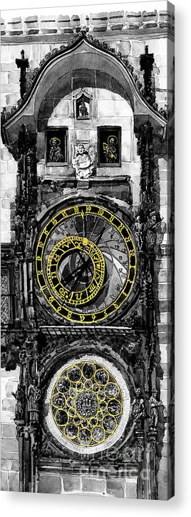 Geelee.watercolour Paper Acrylic Print featuring the painting Bw Prague The Horologue At Oldtownhall by Yuriy Shevchuk