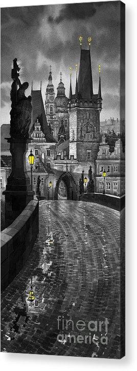 Prague Acrylic Print featuring the painting Bw Prague Charles Bridge 03 by Yuriy Shevchuk
