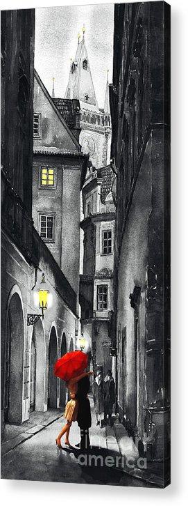 Prague Acrylic Print featuring the digital art Prague Love Story by Yuriy Shevchuk