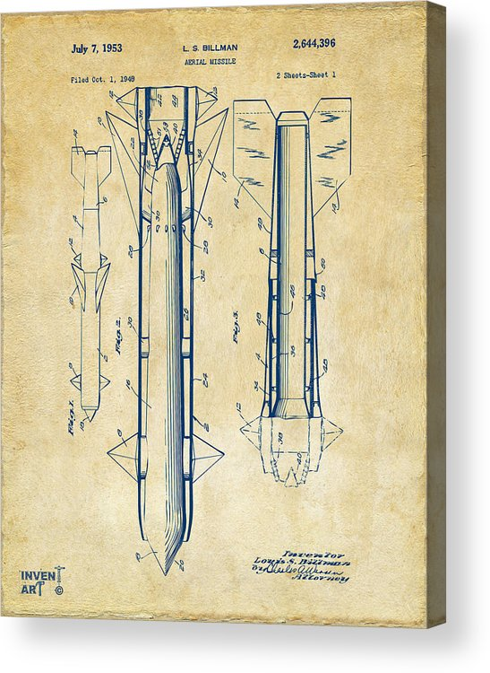 Aerial Missle Acrylic Print featuring the drawing 1953 Aerial Missile Patent Vintage by Nikki Marie Smith