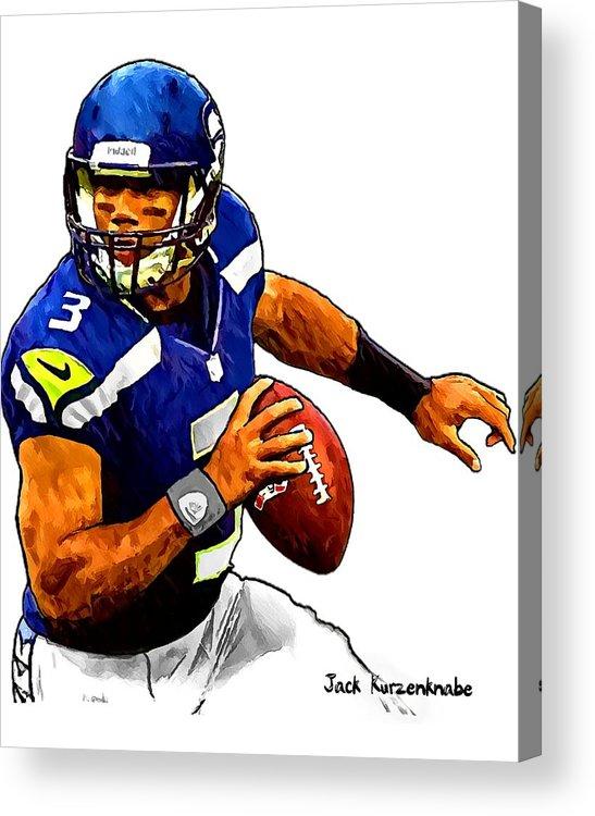 Sports Nfl Art Sketch Drawings nfl Art nfl Artwork nfl Drawings nfl Sketches seattle Seahawksseattle Seahawks Russell Wilson Acrylic Print featuring the digital art 302 by Jack K