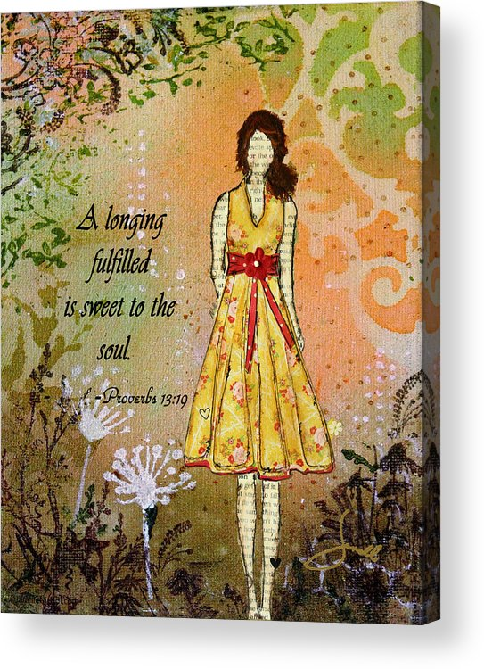 Unique Acrylic Print featuring the mixed media A Longing Fulfilled by Janelle Nichol