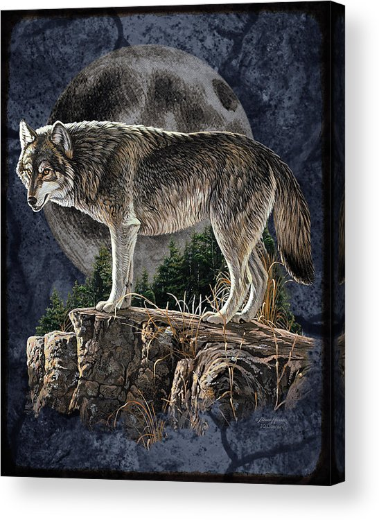 Bruce Miller Acrylic Print featuring the painting Bm Wolf Moon by JQ Licensing