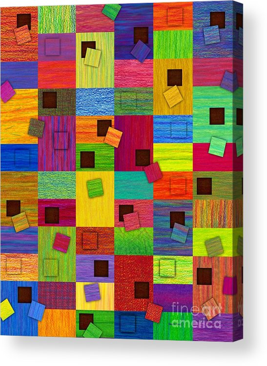 Colored Pencil Acrylic Print featuring the painting Chronic Tiling V2.0 by David K Small