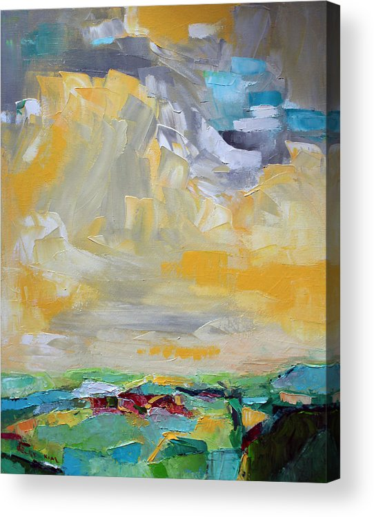 Landscape Acrylic Print featuring the painting Dancing Clouds by Becky Kim