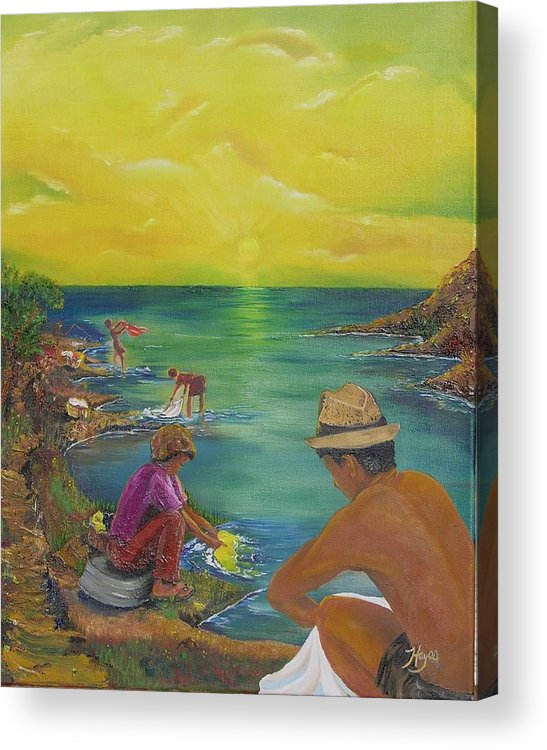 River Acrylic Print featuring the painting Down By The River by Barbara Hayes