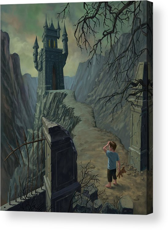 Castle Acrylic Print featuring the painting Haunted Castle Nightmare by Martin Davey