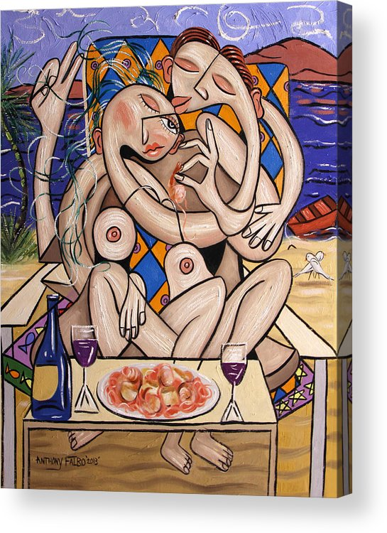 Love On A Deserted Island Shrimp Scallops And Linguine Acrylic Print featuring the painting Love On A Deserted Island Shrimp Scallops And Linguine by Anthony Falbo