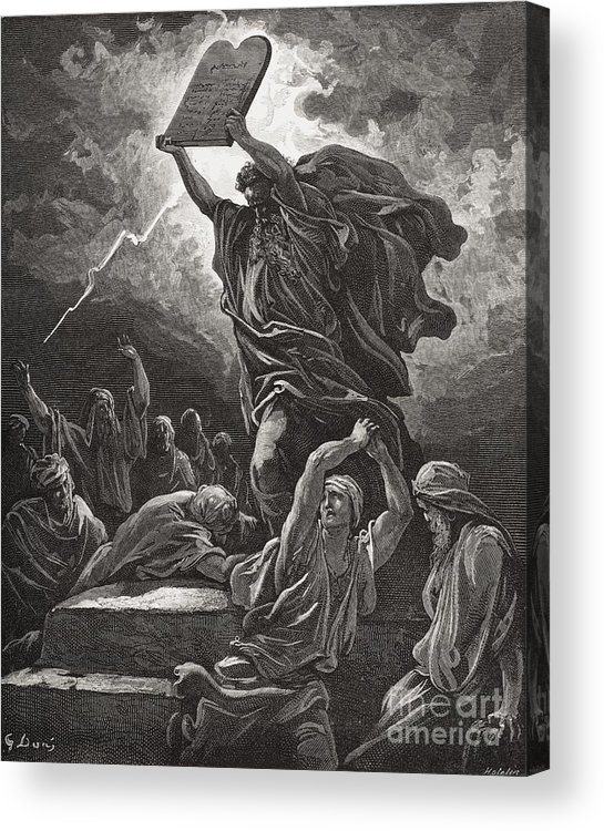 Tables Acrylic Print featuring the painting Moses Breaking The Tablets Of The Law by Gustave Dore