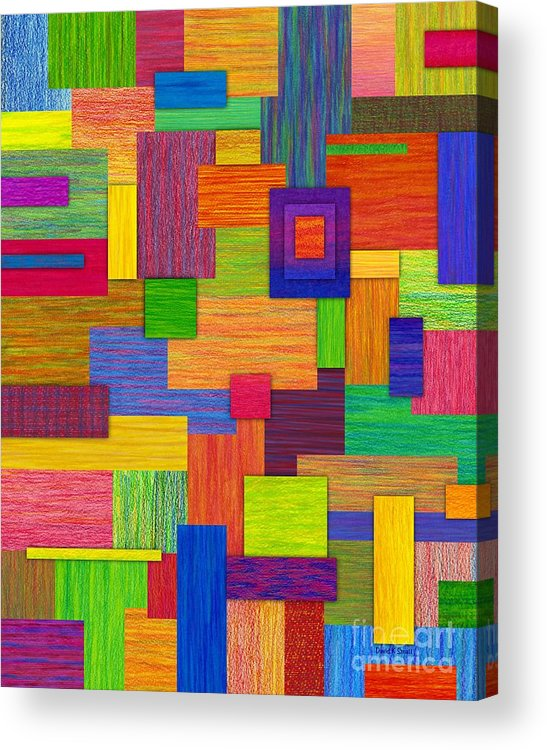 Colored Pencil Acrylic Print featuring the painting Parallelograms by David K Small