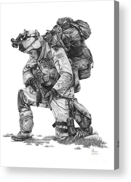 Soldier Acrylic Print featuring the drawing Praying Soldier by Murphy Elliott