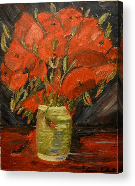 Flowers Acrylic Print featuring the painting Red Velvet by Louise Burkhardt