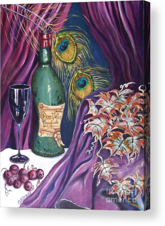 Still-life Acrylic Print featuring the painting Red Wine And Peacock Feathers by Caroline Street