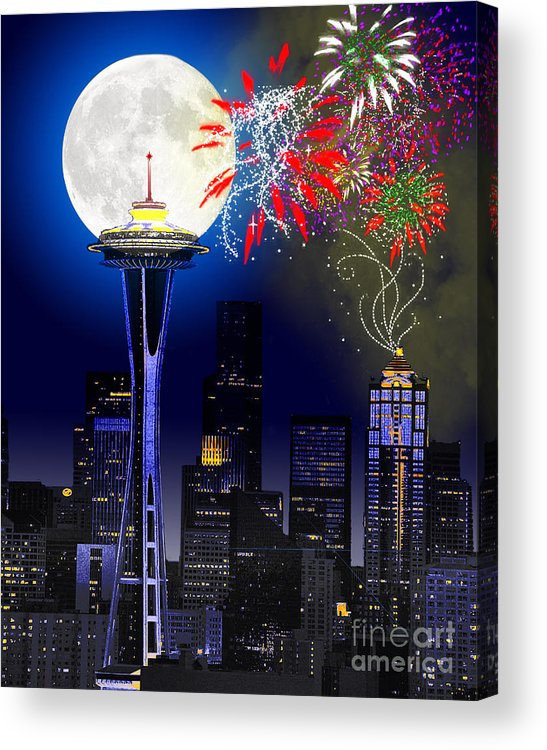 Seattle Skyline Acrylic Print featuring the painting Seattle Skyline by Methune Hively