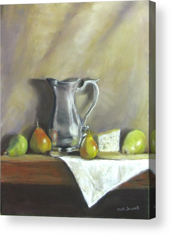 Still Life Acrylic Print featuring the painting Silver Pitcher With Pears by Jack Skinner