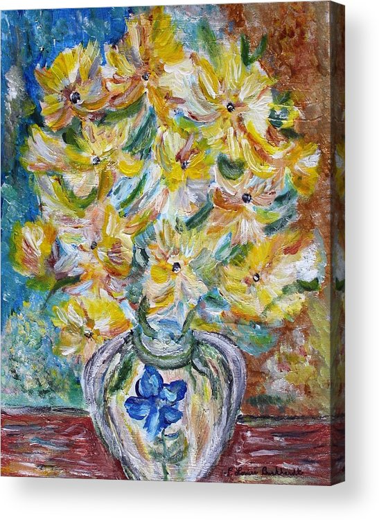 Flowers Acrylic Print featuring the painting Summer Reflections by Louise Burkhardt