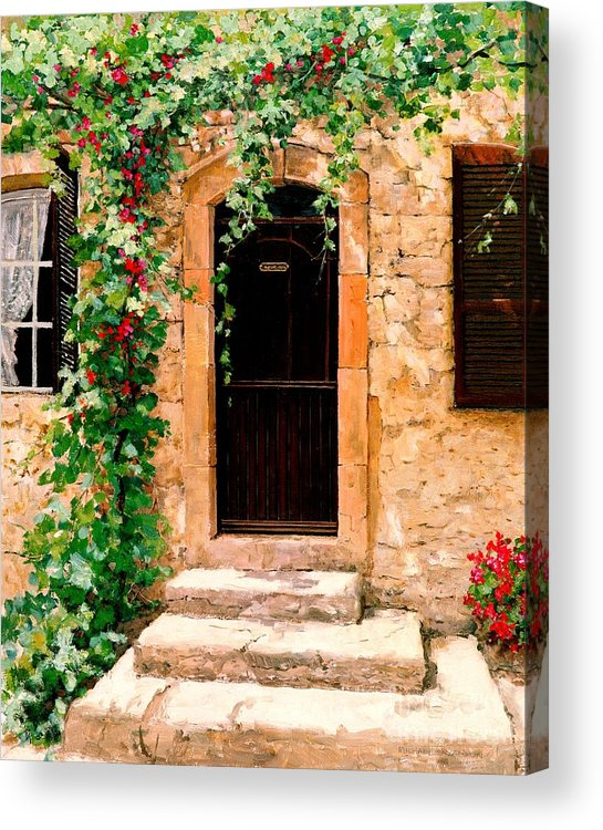 French Door Acrylic Print featuring the painting Sunlight Vines - Oil by Michael Swanson