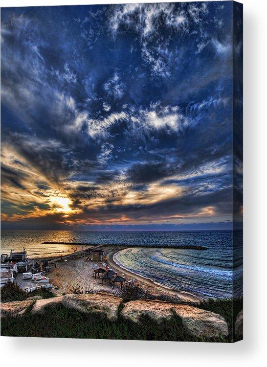 Israel Acrylic Print featuring the photograph Tel Aviv Sunset At Hilton Beach by Ron Shoshani