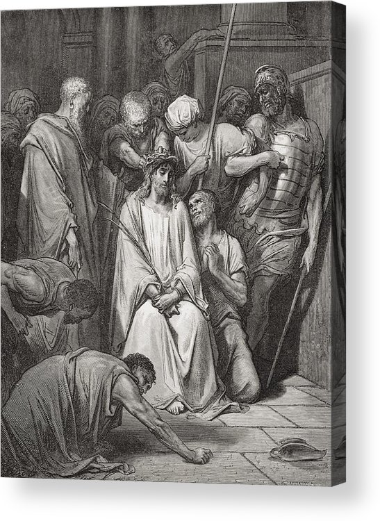 Jesus Christ Acrylic Print featuring the painting The Crown Of Thorns by Gustave Dore