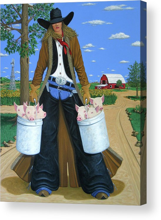 Little Piglets Acrylic Print featuring the painting Tickled Pink by Lance Headlee