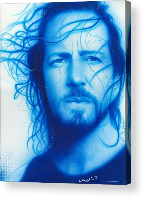 Eddie Vedder Acrylic Print featuring the painting 'vedder' by Christian Chapman Art