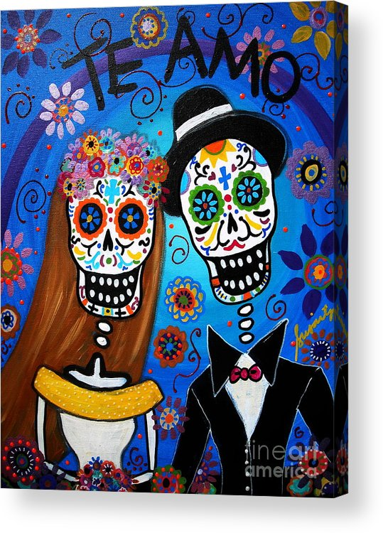 Wedding Acrylic Print featuring the painting Wedding Couple by Pristine Cartera Turkus