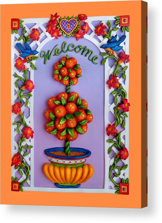 Garden Scene Acrylic Print featuring the sculpture Welcome by Amy Vangsgard