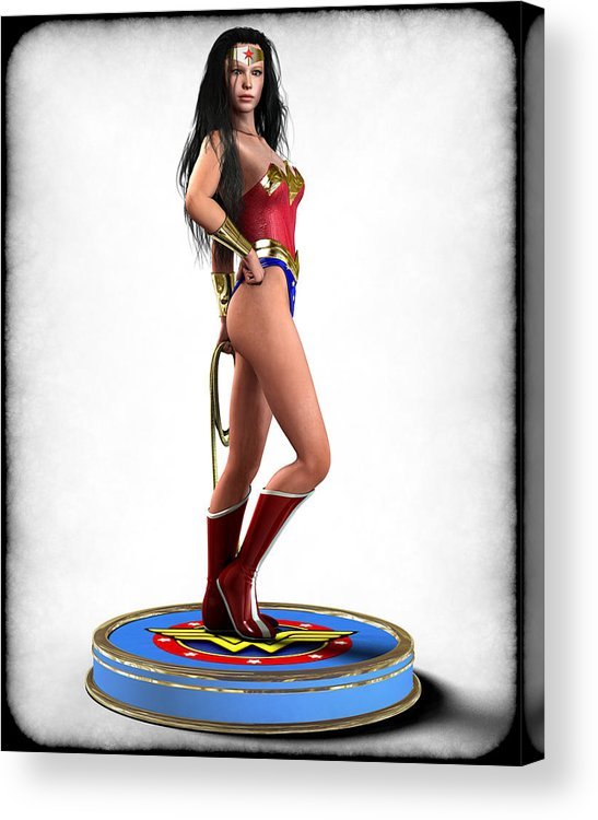 Woman Acrylic Print featuring the digital art Wonder Woman V1 by Frederico Borges