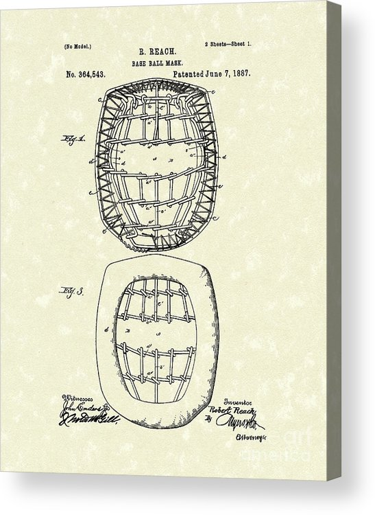 Baseball Acrylic Print featuring the drawing Baseball Mask 1887 Patent Art by Prior Art Design