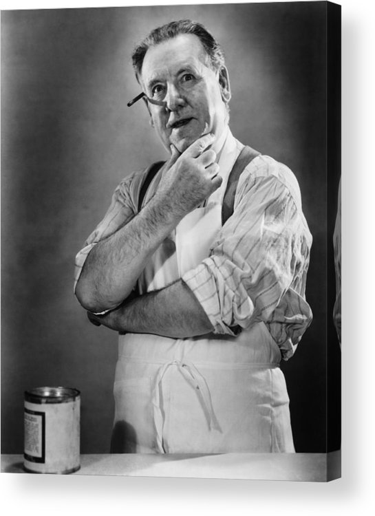 50-54 Years Acrylic Print featuring the photograph Carpenter Posing In Studio, (b&w) by George Marks