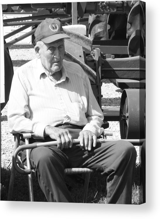 An Elderly Gentlemen Sitting By His Tracotr On A Hot Summer Day. Acrylic Print featuring the photograph Farmer by Ralph Hecht