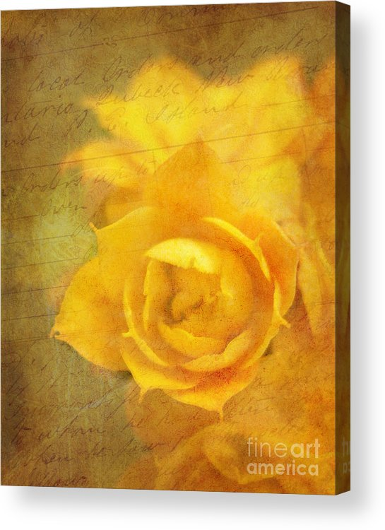 Yellow Acrylic Print featuring the photograph Roses For Remembrance by Judi Bagwell