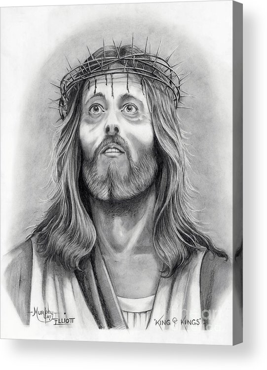 Jesus Christ Acrylic Print featuring the drawing King Of Kings by Murphy Elliott