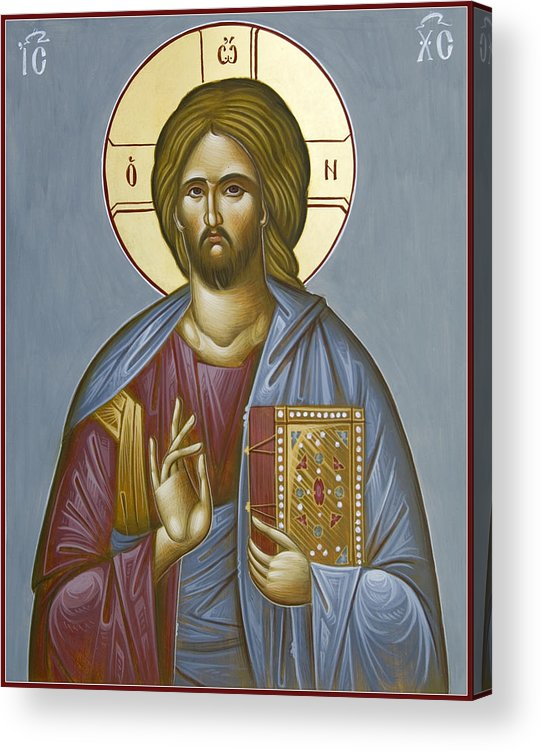 Icon Acrylic Print featuring the painting Christ Pantokrator by Julia Bridget Hayes