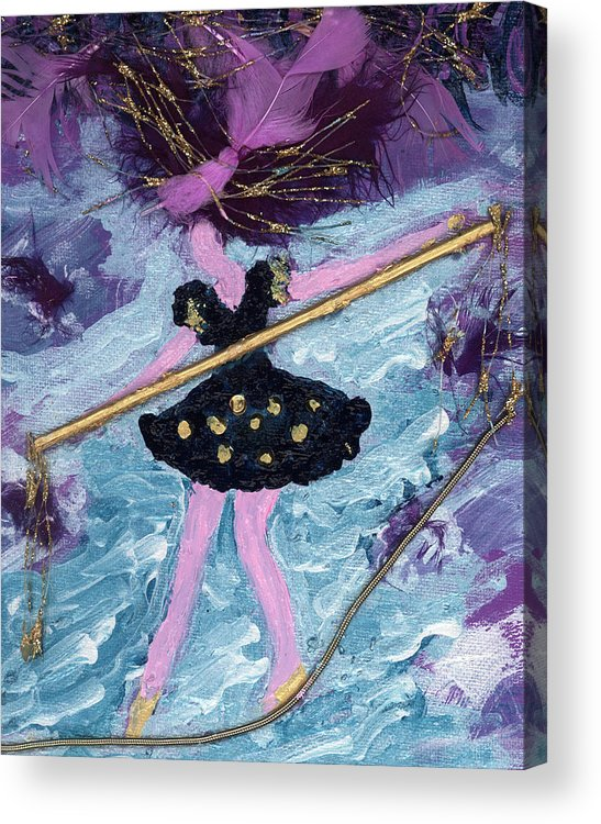 Women Acrylic Print featuring the painting Althea Balances Her Life After Chemo by Annette McElhiney