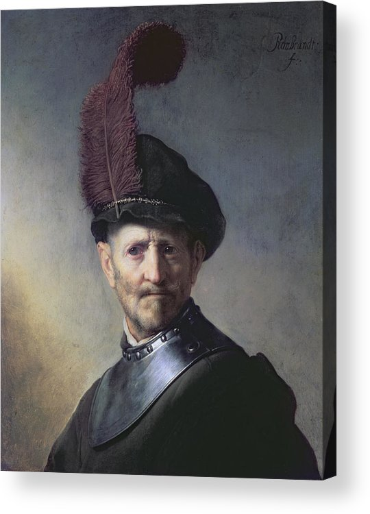 Old Acrylic Print featuring the painting An Old Man In Military Costume by Rembrandt